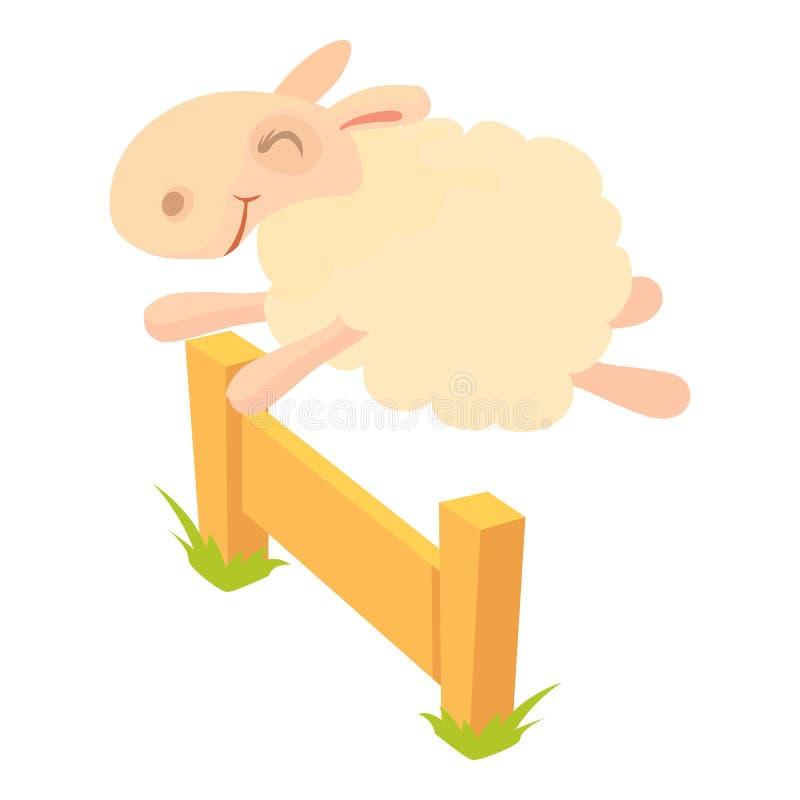 Πρόβατα που πηδούν πέρα από το εικονίδιο εμποδίων, ύφος κινούμενων σχεδίων απεικόνιση αποθεμάτων