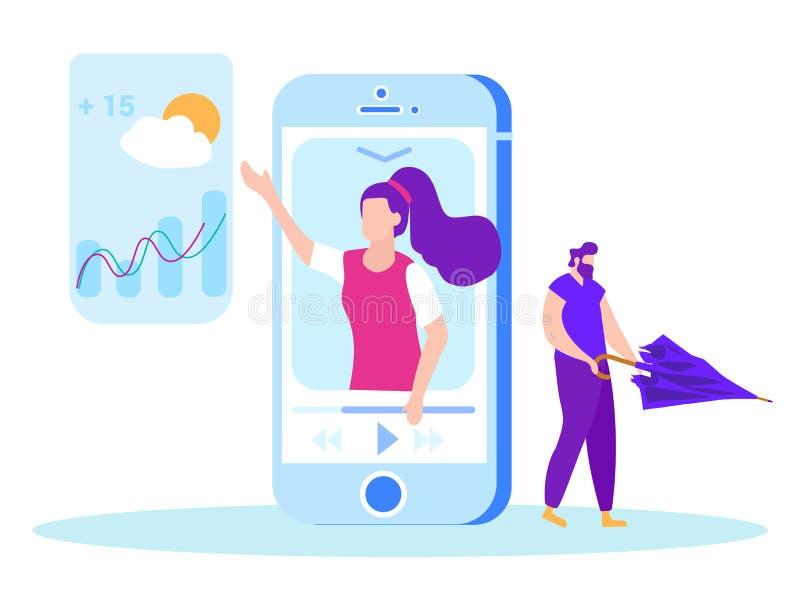 Πρόβλεψη καιρού στην οθόνη smartphone Διάνυσμα ελεύθερη απεικόνιση δικαιώματος