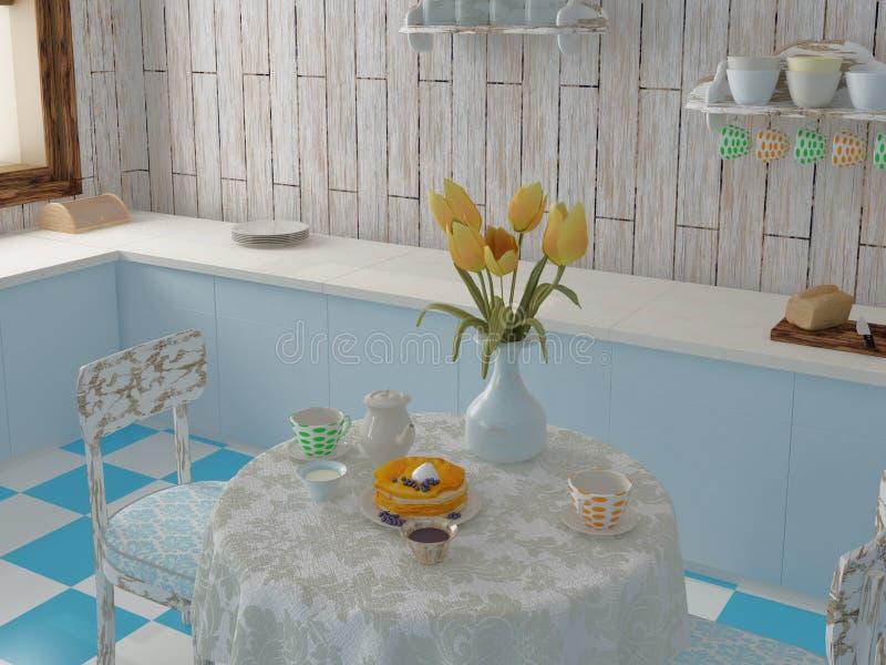 Πρόγευμα στην μπλε κουζίνα με τις τουλίπες διανυσματική απεικόνιση
