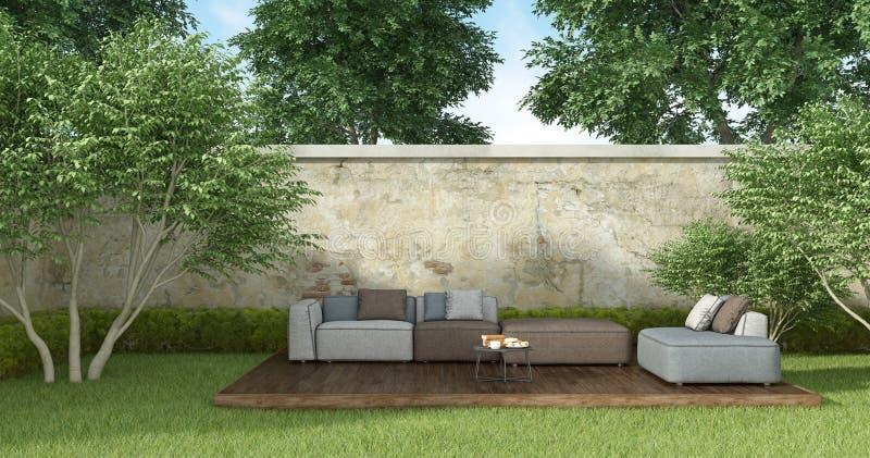 Πρόγευμα στον κήπο διανυσματική απεικόνιση