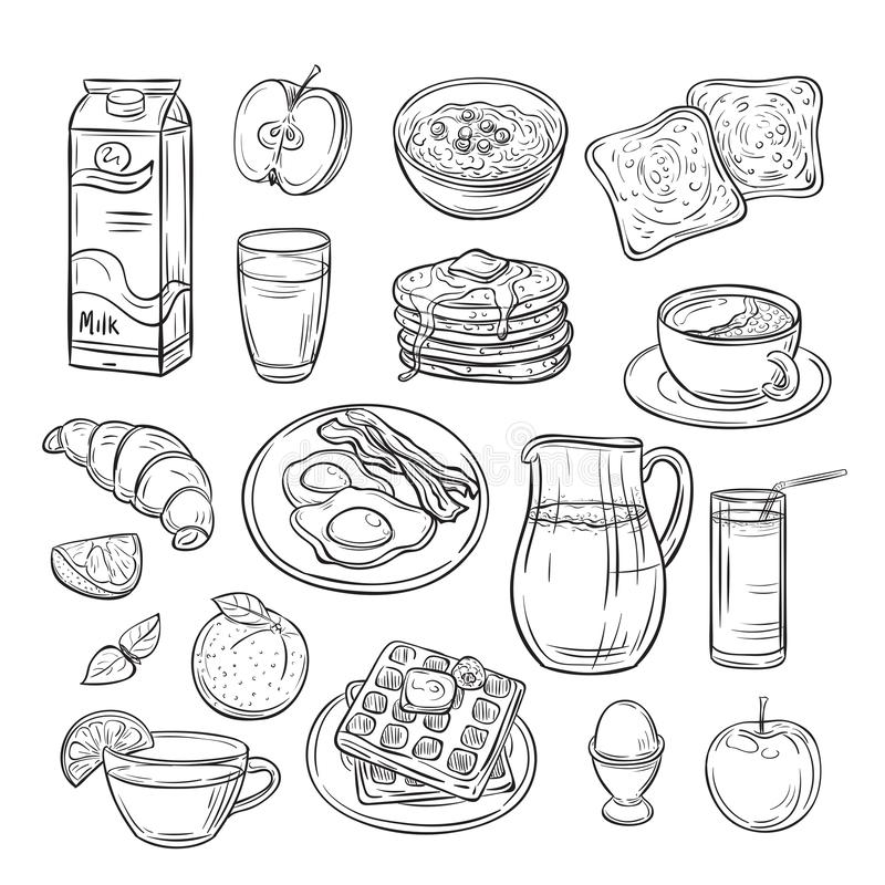 Πρόγευμα doodle Βούτυρο αυγών φρυγανιάς ψωμιού σάντουιτς, καφές πρωινού και υγιές εκλεκτής ποιότητας διανυσματικό σύνολο τροφίμων διανυσματική απεικόνιση