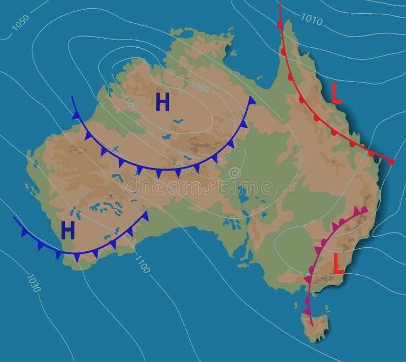 Πρόγνωση καιρού της Αυστραλίας Μετεωρολογικός καιρικός χάρτης της ΑΥΣΤΡΑΛΙΑΣ Ρεαλιστικός συνοπτικός χάρτης με aditable γενικό απεικόνιση αποθεμάτων