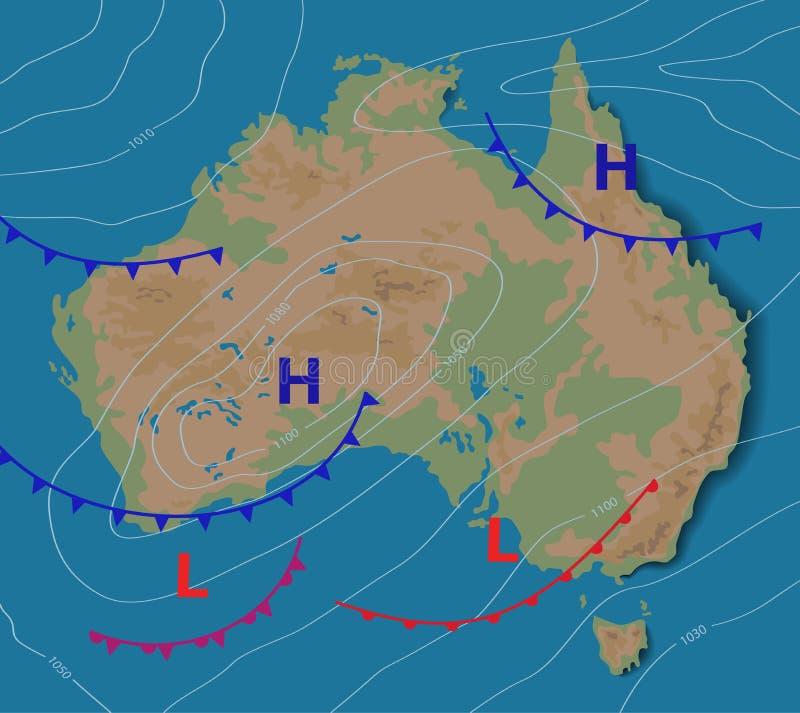 Πρόγνωση καιρού της Αυστραλίας Μετεωρολογικός καιρικός χάρτης της ΑΥΣΤΡΑΛΙΑΣ Ρεαλιστικός συνοπτικός χάρτης με aditable γενικό διανυσματική απεικόνιση