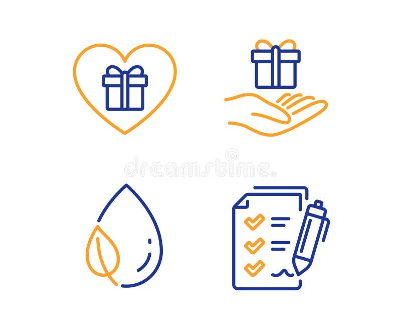 Πρόγραμμα πίστης, δροσιά φύλλων και ρομαντικά εικονίδια δώρων καθορισμένα Σημάδι πινάκων ελέγχου ερευνών r διανυσματική απεικόνιση