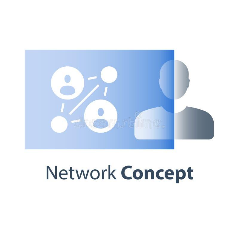 Πρόγραμμα παραπομπής, έννοια δικτύων, κατάρτιση εργασίας ομάδων, ανθρώπινα δυναμικά, προσωπική προγύμναση, εργαστήριο επιχειρησια διανυσματική απεικόνιση
