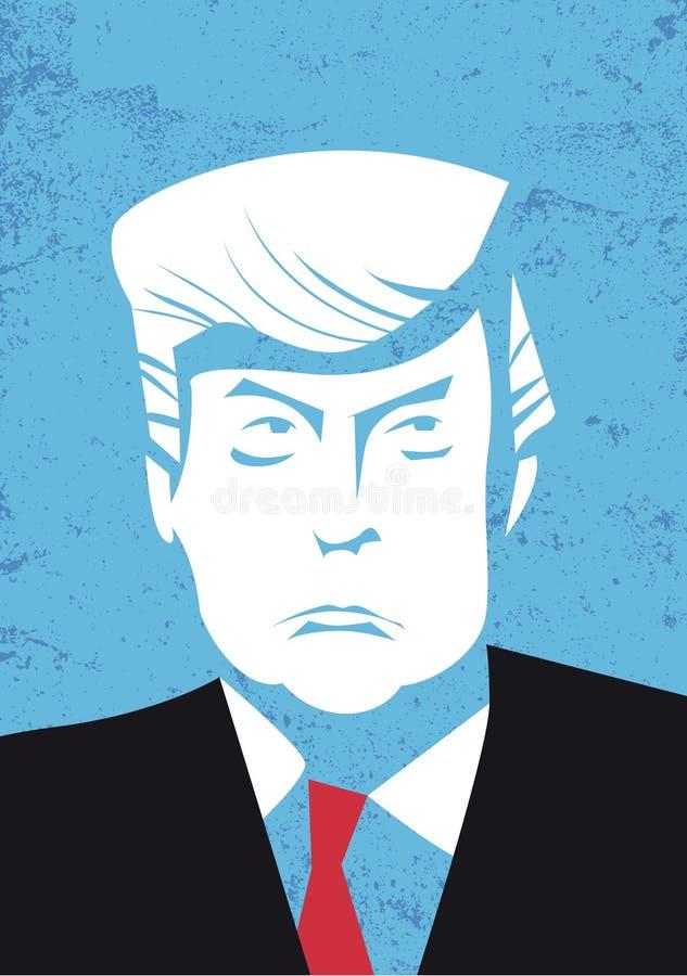 Πρόεδρος των Ηνωμένων Πολιτειών Νέο πορτρέτο Προέδρου του Ντόναλντ Τραμπ επίσης corel σύρετε το διάνυσμα απεικόνισης απεικόνιση αποθεμάτων