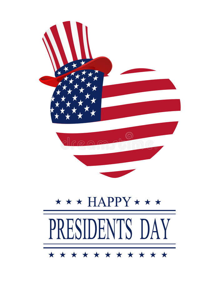 Πρόεδροι εικονιδίων ημέρας που τίθενται Ευχετήρια κάρτα σε ένα άσπρο υπόβαθρο απομονωμένος τυποποιημένα καρδιά και καπέλο στα χρώ ελεύθερη απεικόνιση δικαιώματος