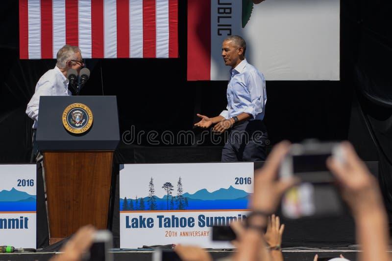 Πρόεδρος Obama με το γερουσιαστή Reid στη 20η ετήσια Σύνοδο Κορυφής 6 Tahoe λιμνών στοκ φωτογραφία με δικαίωμα ελεύθερης χρήσης
