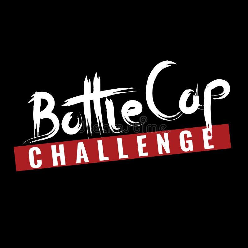 Πρόκληση ΚΑΠ μπουκαλιών Κείμενο ΚΑΠ μπουκαλιών για το σχέδιο μπλουζών σας r απεικόνιση αποθεμάτων