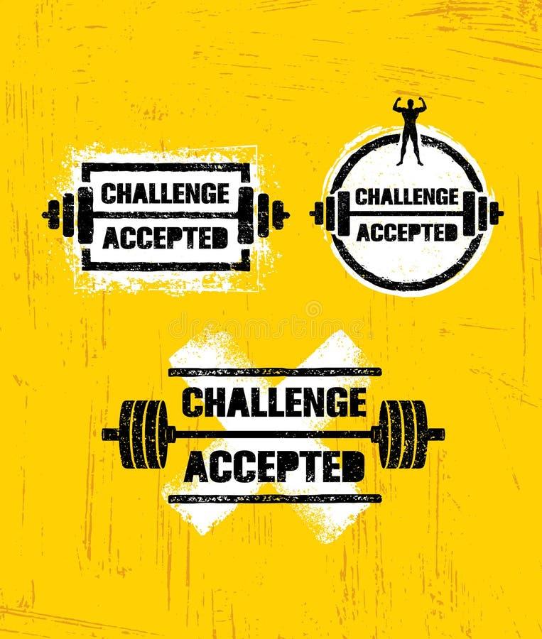 Πρόκληση αποδεκτή Δημιουργική έννοια στοιχείων σχεδίου αθλητισμού και ικανότητας Ισχυρό σημάδι κινήτρου Workout διανυσματικό απεικόνιση αποθεμάτων