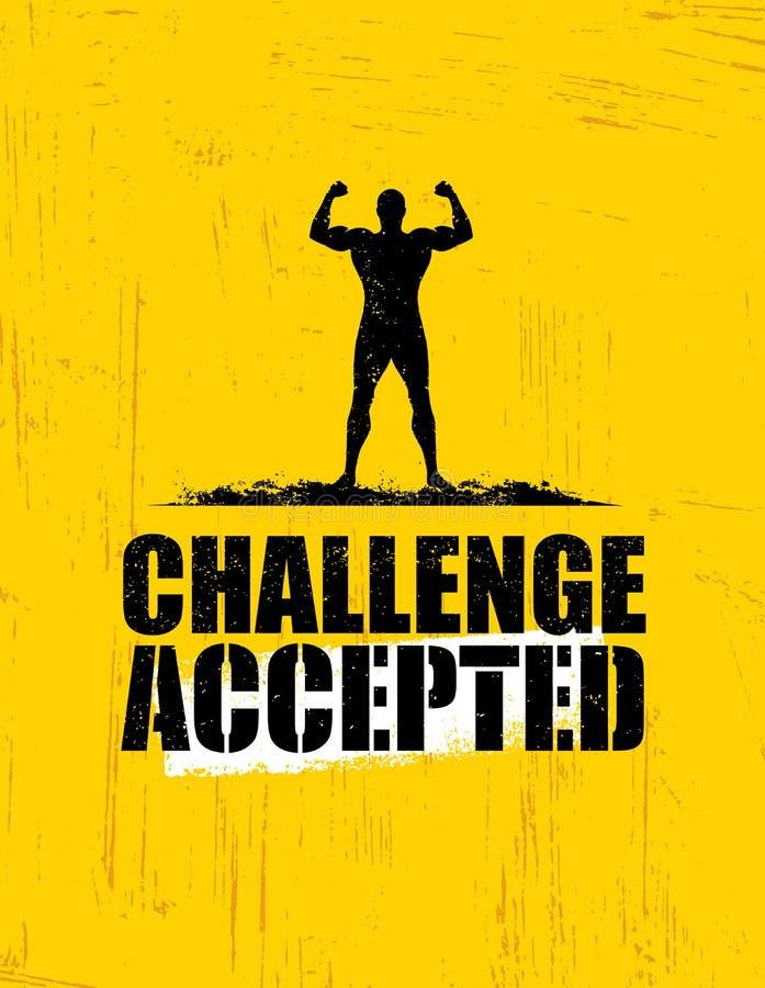 Πρόκληση αποδεκτή Δημιουργική έννοια στοιχείων σχεδίου αθλητισμού και ικανότητας Ισχυρό σημάδι κινήτρου Workout διανυσματικό ελεύθερη απεικόνιση δικαιώματος