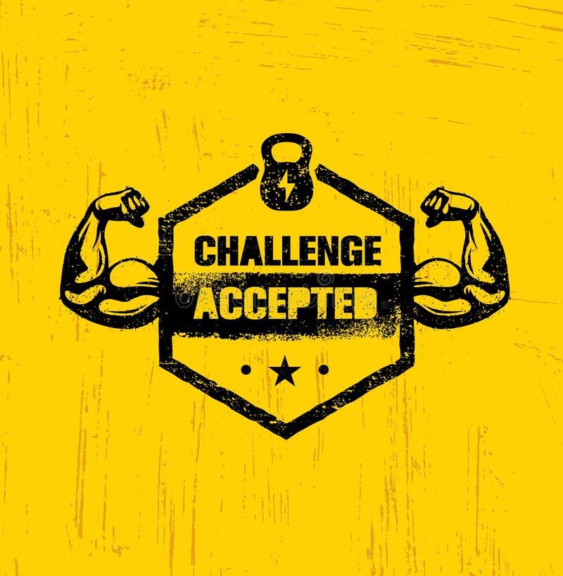 Πρόκληση αποδεκτή Δημιουργική έννοια στοιχείων σχεδίου αθλητισμού και ικανότητας Ισχυρό σημάδι κινήτρου Workout διανυσματικό διανυσματική απεικόνιση