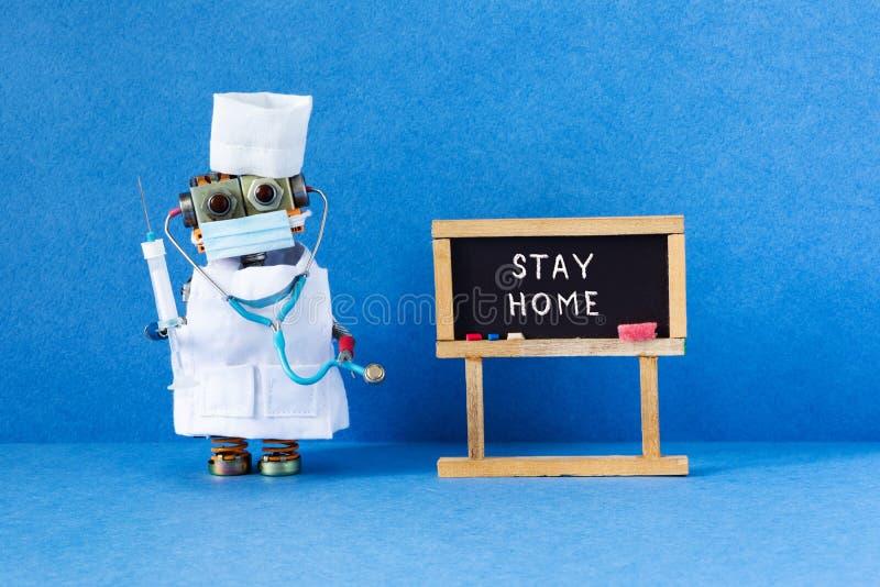 Πρόληψη COVID 2019 πανδημία του κορονοϊού, αφίσα για αυτοαπομόνωση Μολυσματική ασθένεια: ρομπότ και μαύρο στοκ φωτογραφία
