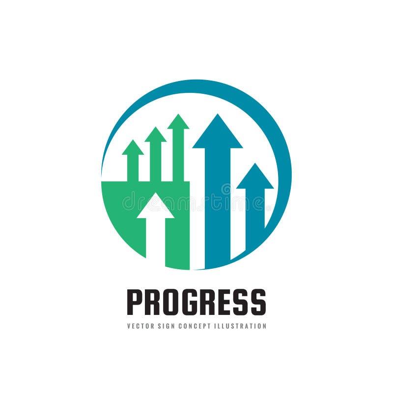 Πρόοδος - διανυσματική απεικόνιση έννοιας προτύπων επιχειρησιακών λογότυπων Αφηρημένο σύμβολο βελών Δημιουργικό σημάδι τάσης αγορ απεικόνιση αποθεμάτων