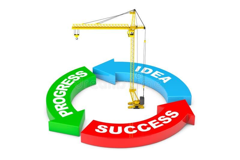 Πρόοδος, ιδέα, διάγραμμα βελών επιτυχίας με το γερανό πύργων τρισδιάστατο rende απεικόνιση αποθεμάτων