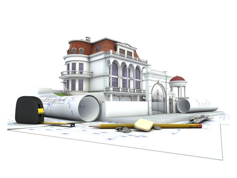 Πρόοδος σχεδίου σπιτιών απεικόνιση αποθεμάτων