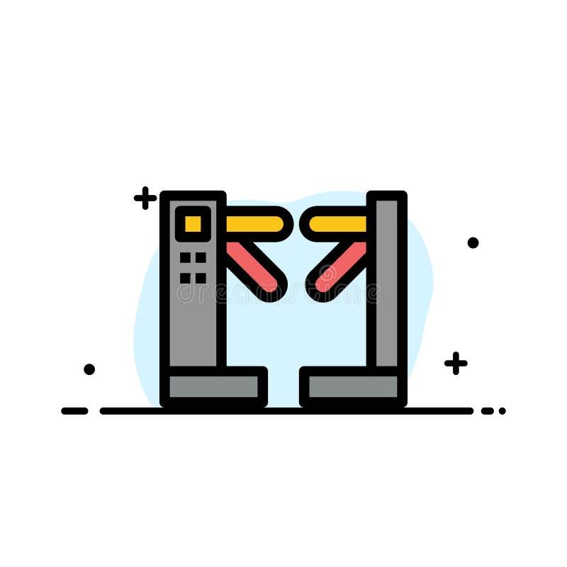 Πρόσβαση, έλεγχος, περιστροφικές πύλες, υπόγειο πρότυπο εμβλημάτων επιχειρησιακών επίπεδο γεμισμένο γραμμή εικονιδίων διανυσματικ διανυσματική απεικόνιση