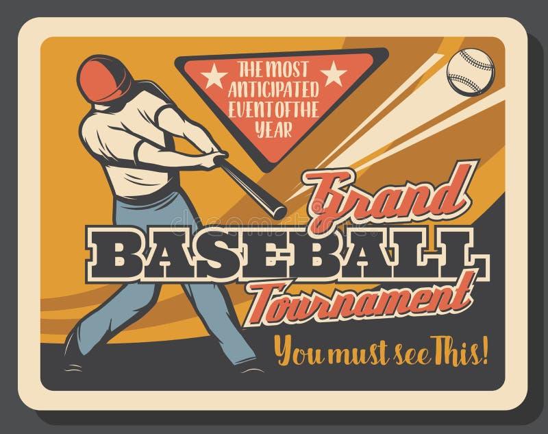 Πρόσκληση αθλητικών αγώνων μπέιζ-μπώλ, παίκτης κτυπήματος διανυσματική απεικόνιση