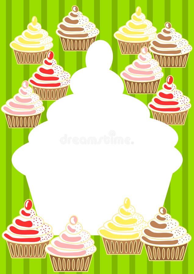 πρόσκληση καρτών cupcakes απεικόνιση αποθεμάτων