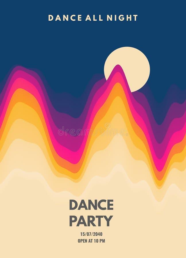 Πρόσκληση κομμάτων χορού με τις λεπτομέρειες ημερομηνίας και χρόνου Ιπτάμενο ή έμβλημα γεγονότος μουσικής τρισδιάστατο κυματιστό  διανυσματική απεικόνιση
