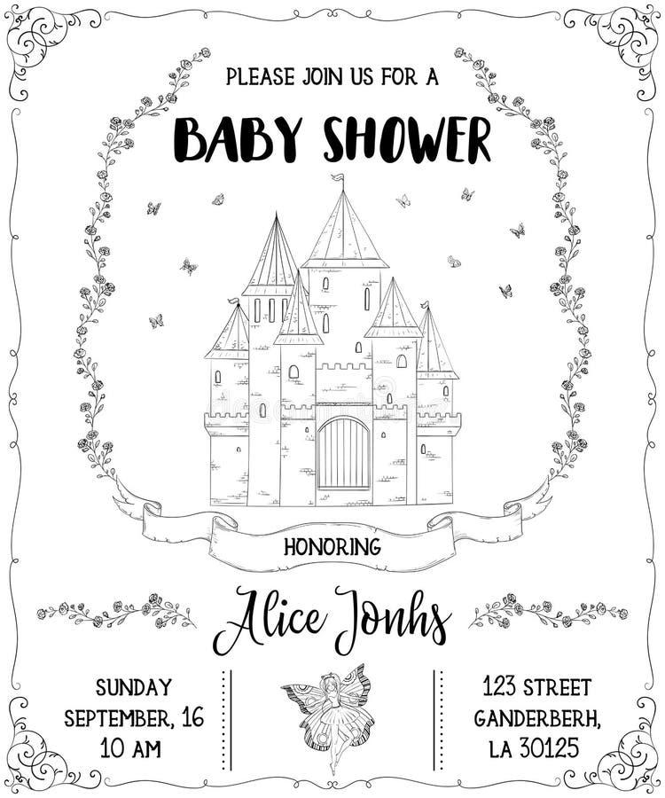 Πρόσκληση ντους μωρών με το κάστρο, τη νεράιδα, τα τριαντάφυλλα και τις πεταλούδες Θέμα παραμυθιού διανυσματική απεικόνιση