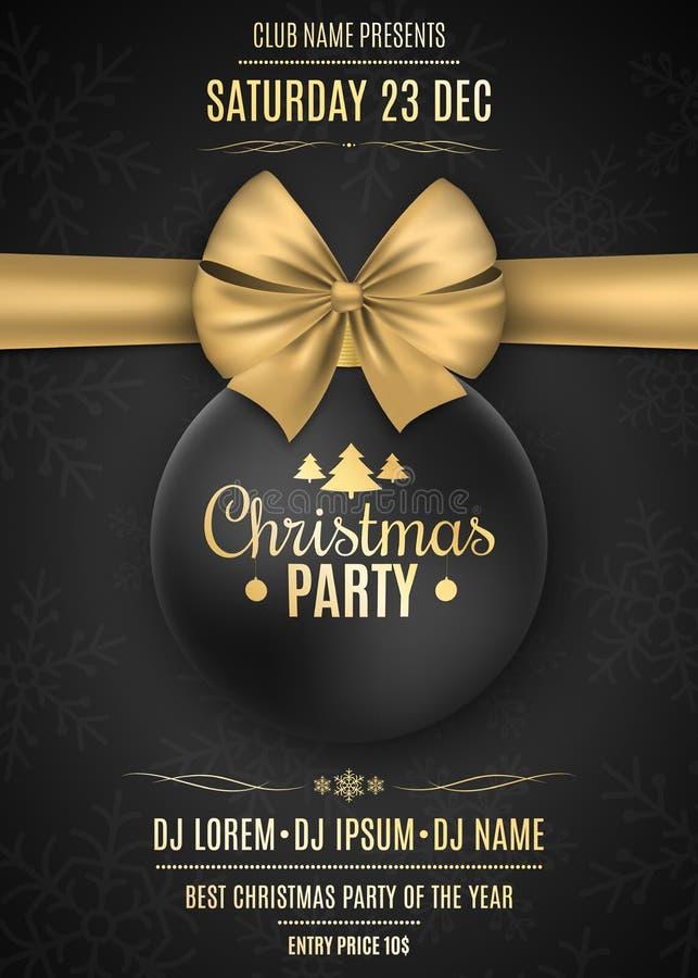 Πρόσκληση σε μια γιορτή Χριστουγέννων Μαύρη σφαίρα με μια χρυσή κορδέλλα σε ένα μαύρο υπόβαθρο με snowflakes Τα ονόματα ελεύθερη απεικόνιση δικαιώματος
