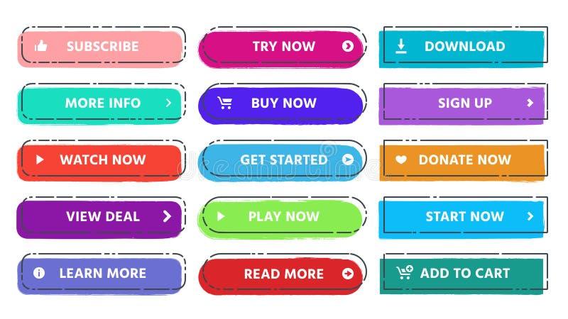 Πρόσκληση στο κουμπί δράσης Διαβάστε περισσότερων, προσυπογράψτε και αγοράστε τώρα τα κουμπιά Ιστού με τα ζωηρές χρώματα και grun διανυσματική απεικόνιση