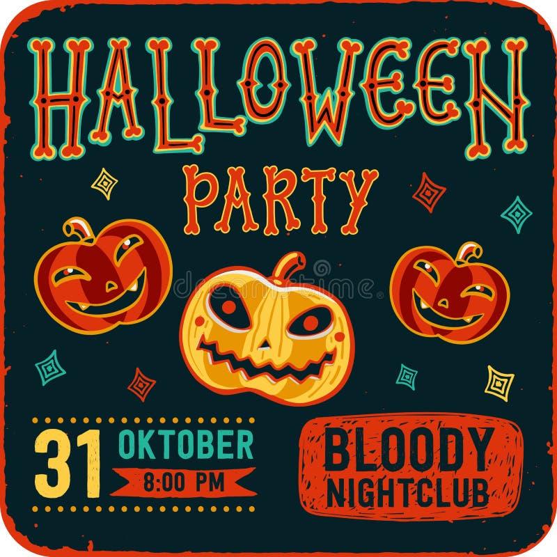 Πρόσκληση στο κόμμα νύχτας αποκριών Εκλεκτής ποιότητας κάρτα με τις κολοκύθες στο σκοτεινό υπόβαθρο δρύινο διάνυσμα προτύπων κορδ απεικόνιση αποθεμάτων
