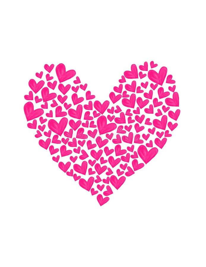 Πρόσκληση συγχαρητηρίων βαλεντίνων καρτών απεικόνισης watercolor καρδιών διανυσματική απεικόνιση