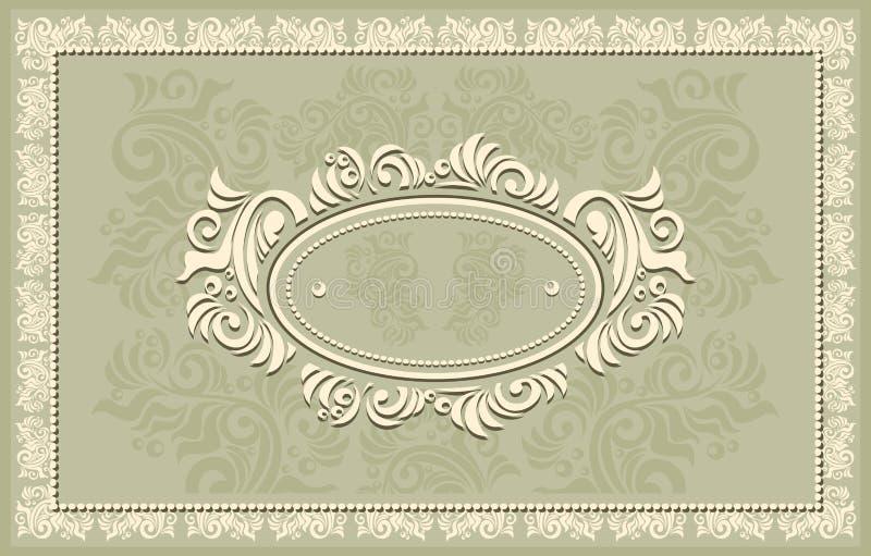 Πρόσκληση ή πλαίσιο ή ετικέτα με το Floral backgroun απεικόνιση αποθεμάτων