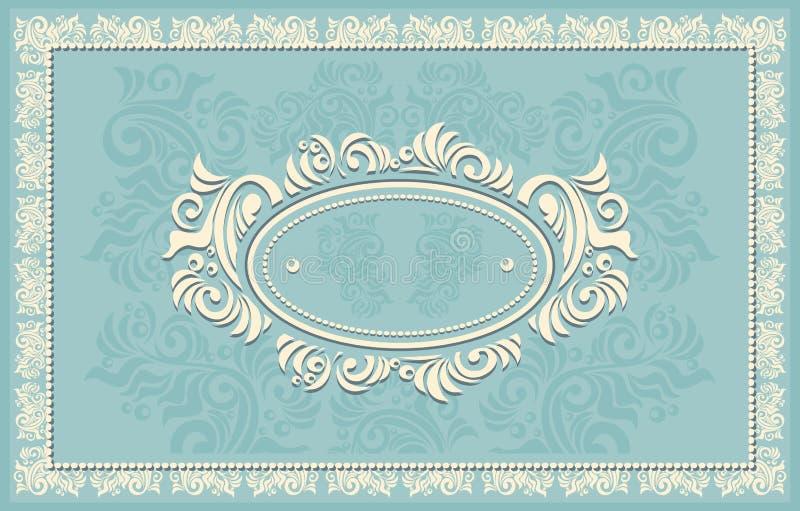 Πρόσκληση ή πλαίσιο ή ετικέτα με το Floral backgroun ελεύθερη απεικόνιση δικαιώματος
