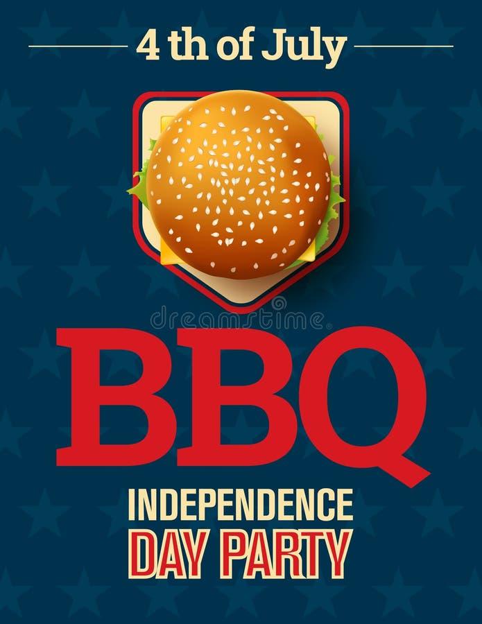 Πρόσκληση κομμάτων σχάρας με cheeseburger και αστεριών το υπόβαθρο ελεύθερη απεικόνιση δικαιώματος