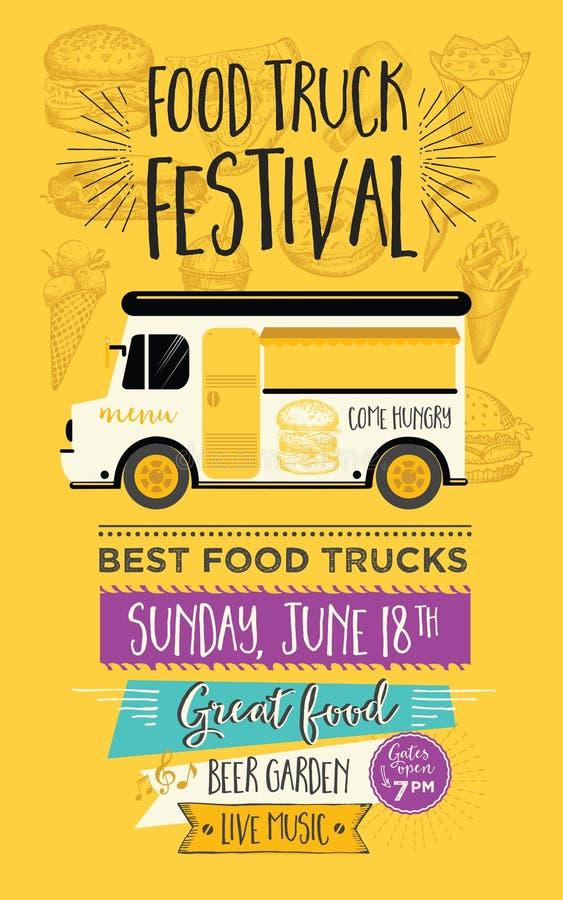 Πρόσκληση κομμάτων φορτηγών τροφίμων Σχέδιο προτύπων επιλογών τροφίμων Μύγα τροφίμων διανυσματική απεικόνιση