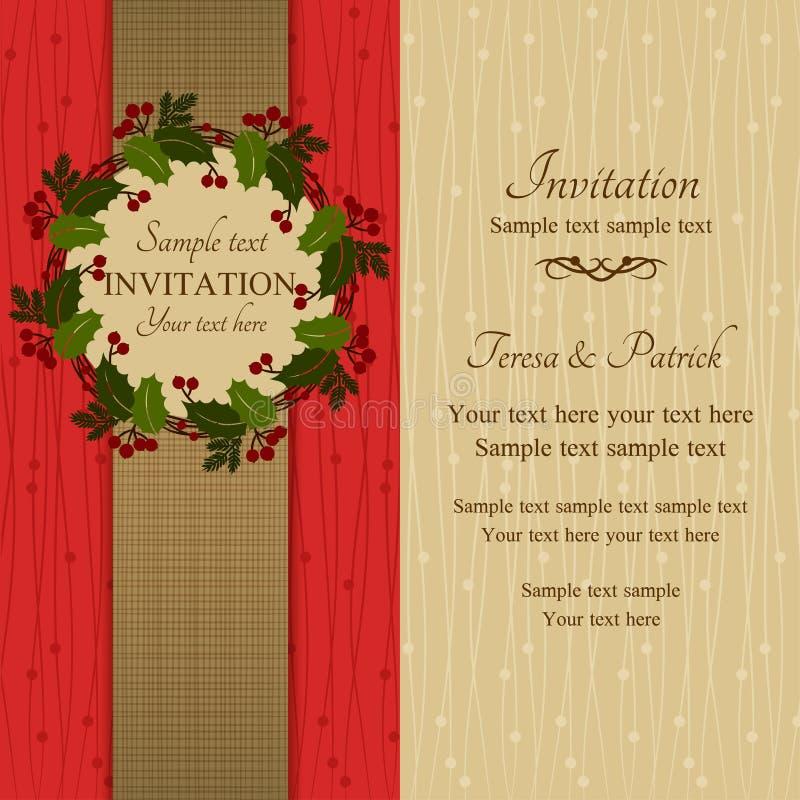 Πρόσκληση, κόκκινο και μπεζ Χριστουγέννων απεικόνιση αποθεμάτων