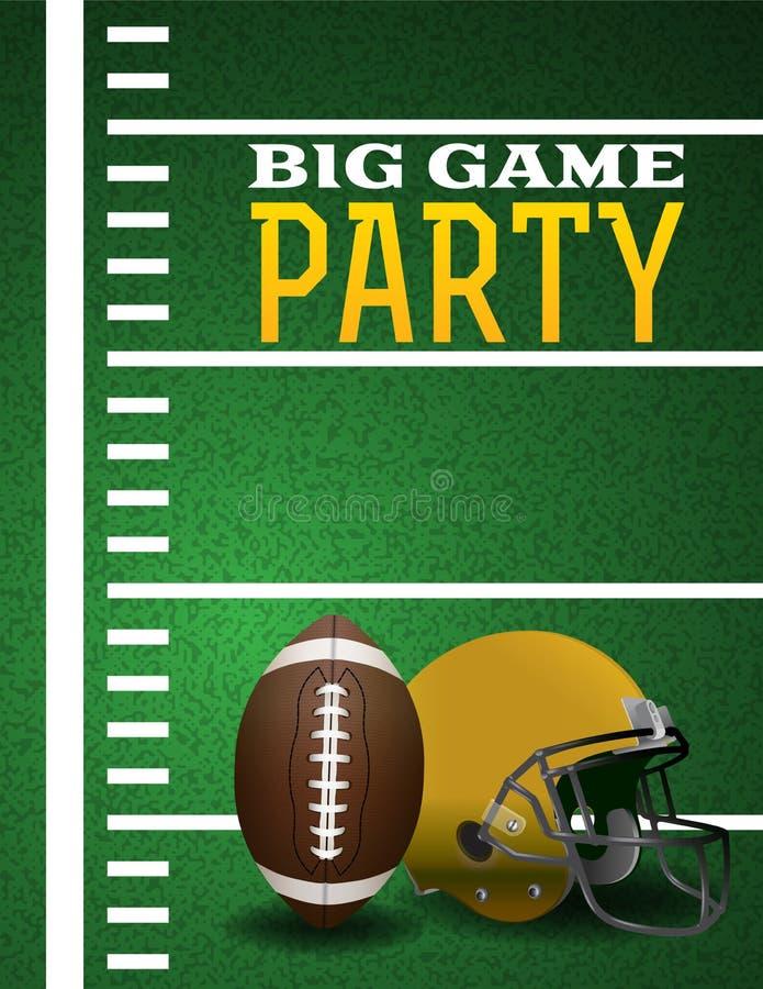 Πρόσκληση κόμματος μεγάλων παιχνιδιών αμερικανικού ποδοσφαίρου ελεύθερη απεικόνιση δικαιώματος