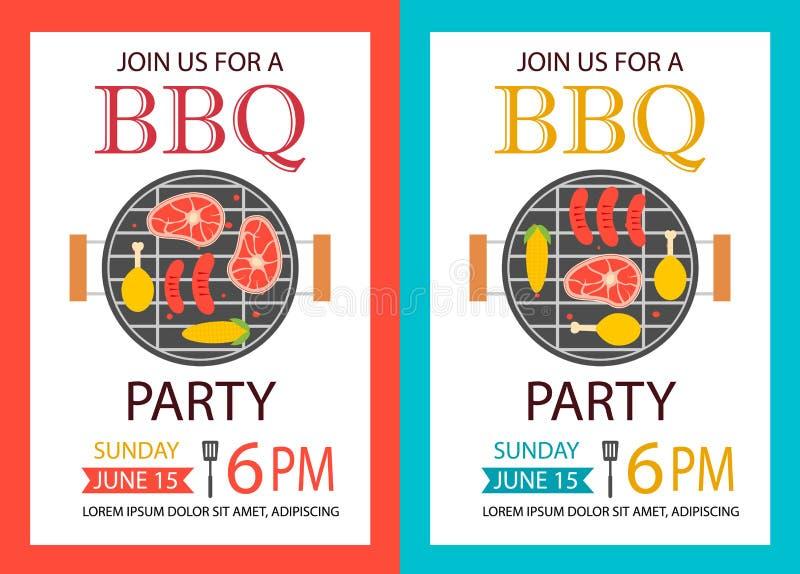 Πρόσκληση κόμματος σχαρών BBQ ιπτάμενο προτύπων ελεύθερη απεικόνιση δικαιώματος