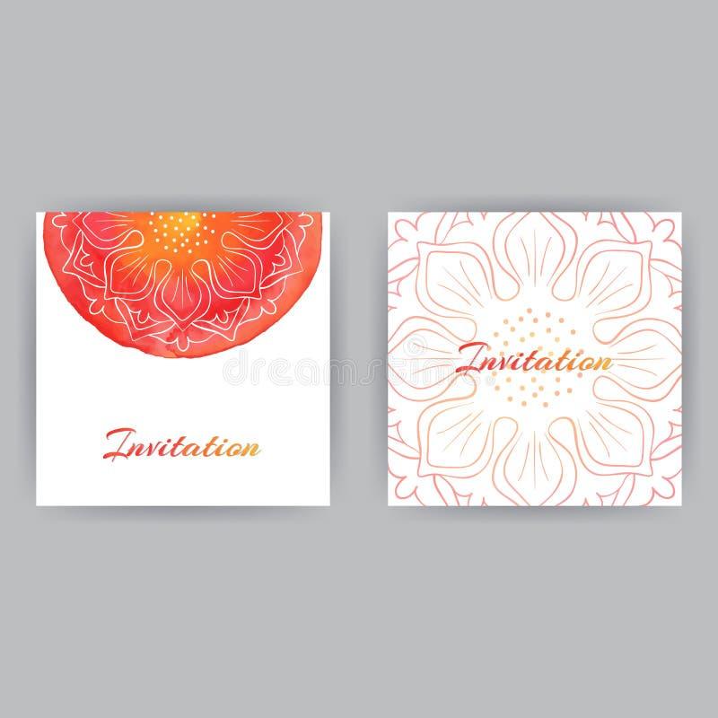 Πρόσκληση με κόκκινο Lotuses απεικόνιση αποθεμάτων