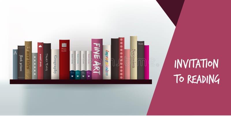 Πρόσκληση στην κάρτα ανάγνωσης. Σχέδιο βιβλιοθήκης templat διανυσματική απεικόνιση