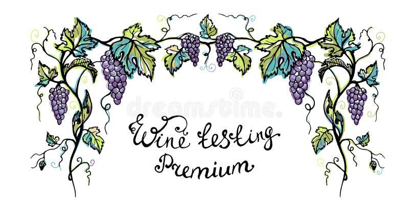Πρόσκληση Watercolor για το ασφάλιστρο δοκιμής κρασιού απεικόνιση αποθεμάτων
