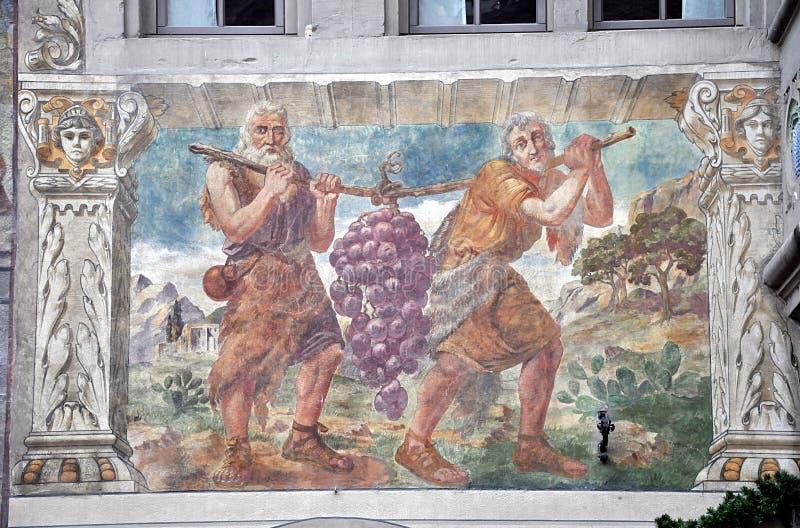 Πρόσοψη λεπτομέρειας του παλαιού σπιτιού Ρήνος stein Ελβετία στοκ εικόνες με δικαίωμα ελεύθερης χρήσης