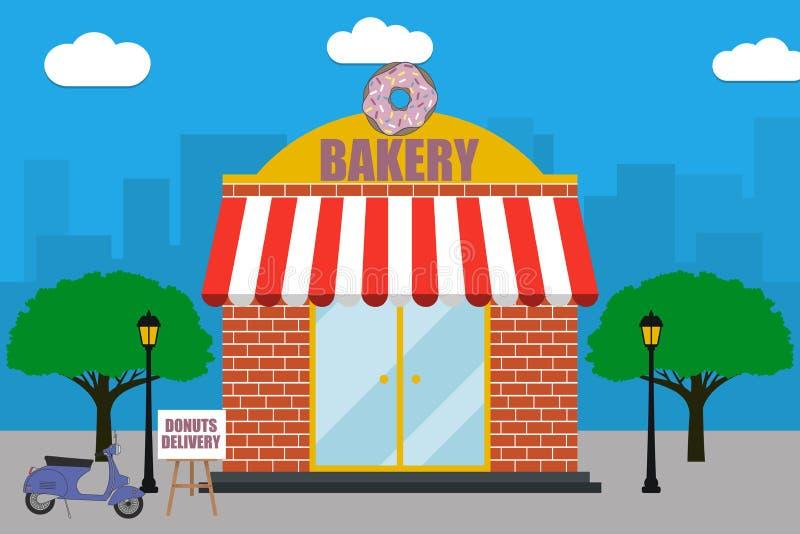 Πρόσοψη κτηρίου καταστημάτων αρτοποιείων με την πινακίδα με doughnut, μηχανικό δίκυκλο παράδοσης, λαμπτήρες οδών, δέντρα Απεικόνι ελεύθερη απεικόνιση δικαιώματος