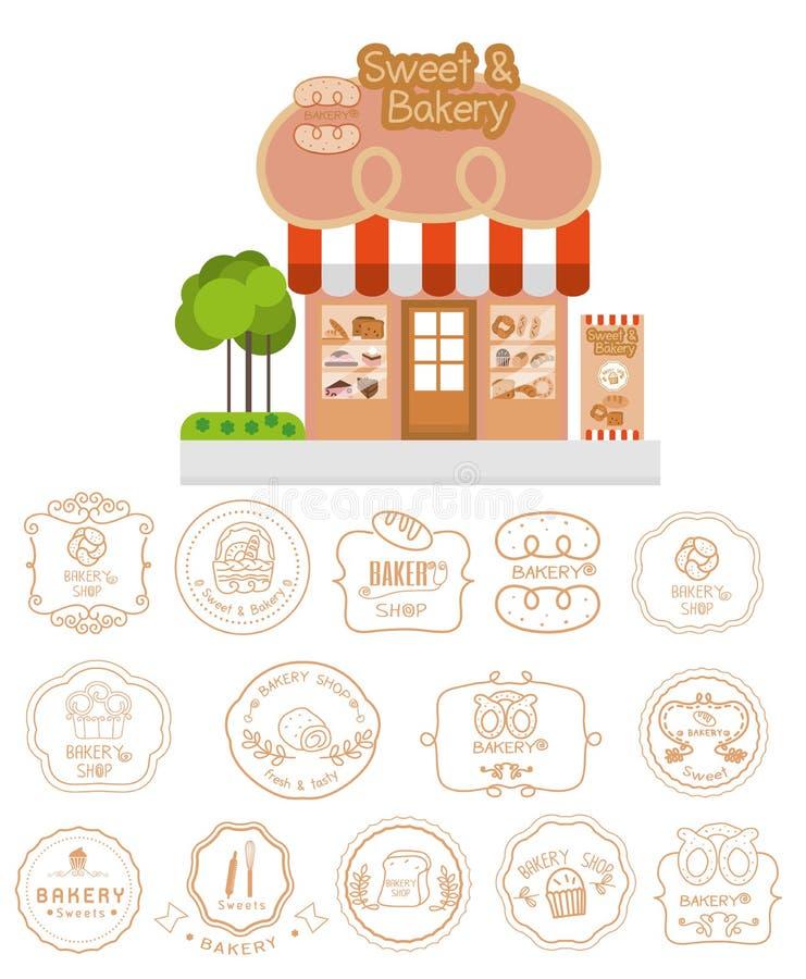 Πρόσοψη κτηρίου καταστημάτων αρτοποιείων με την πινακίδα και το αρτοποιείο logotypes ελεύθερη απεικόνιση δικαιώματος