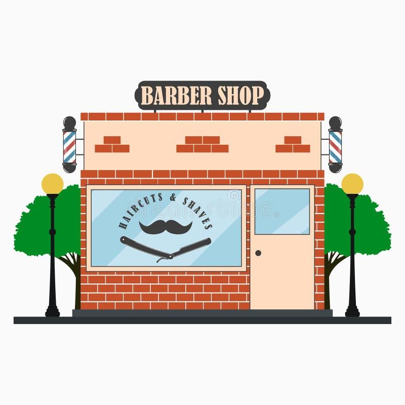 Πρόσοψη κτηρίου καταστημάτων κουρέων με την πινακίδα, πόλος κουρέων, mustache, ευθύ ξυράφι, λαμπτήρες οδών, δέντρα hairdressing τ ελεύθερη απεικόνιση δικαιώματος