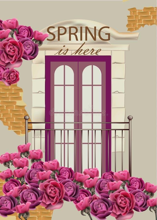 Πρόσοψη μπαλκονιών στο διάνυσμα λουλουδιών Ρομαντικές απεικονίσεις καρτών ανοίξεων ελεύθερη απεικόνιση δικαιώματος
