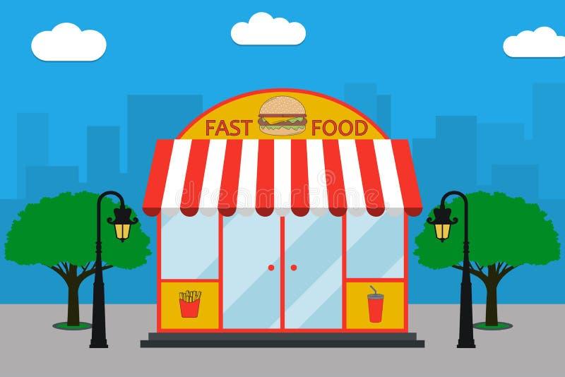 Πρόσοψη οικοδόμησης γρήγορου φαγητού με την πινακίδα με burger, τηγανιτές πατάτες, φλυτζάνι σόδας, λαμπτήρες οδών, δέντρα επίσης  διανυσματική απεικόνιση