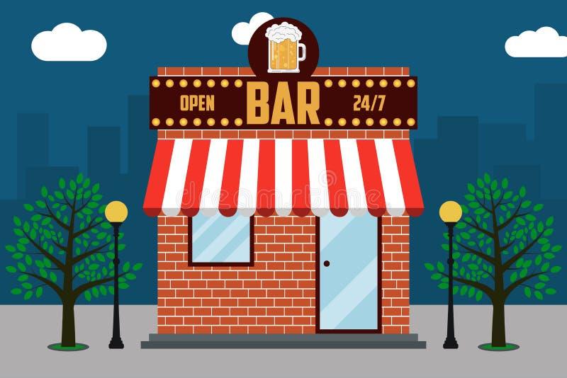 Πρόσοψη οικοδόμησης φραγμών μπύρας με την πινακίδα με το ποτήρι της μπύρας, λαμπτήρες οδών, δέντρα Υπόβαθρο τοπίων πόλεων απεικόν ελεύθερη απεικόνιση δικαιώματος