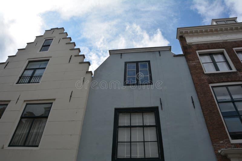 Πρόσοψη σπιτιών στην παλαιά πόλη Middelburg στις Κάτω Χώρες στοκ φωτογραφία με δικαίωμα ελεύθερης χρήσης