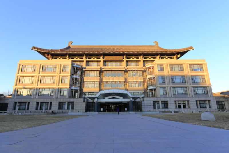 Πρόσοψη της βιβλιοθήκης του πανεπιστημίου του Πεκίνου, πλίθα rgb στοκ εικόνες