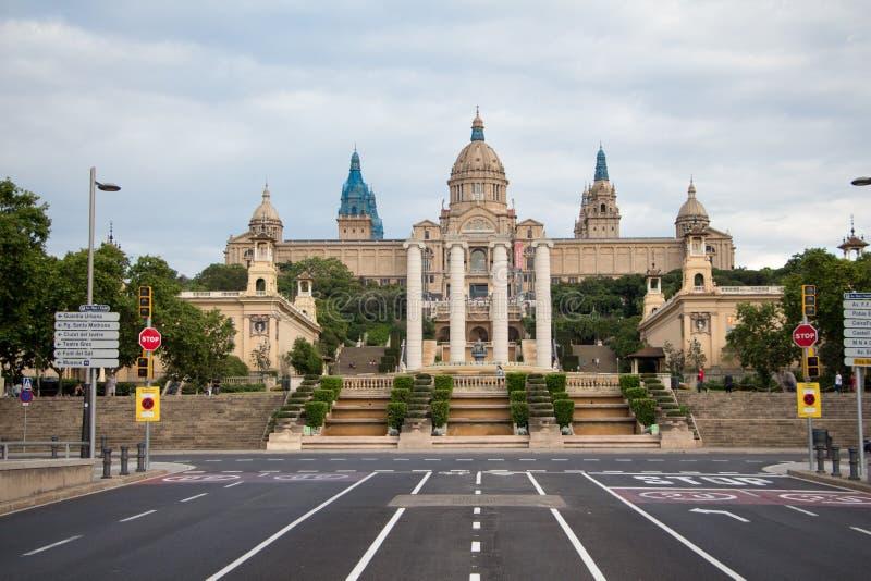 Πρόσοψη του εθνικού Μουσείου Τέχνης της Καταλωνίας στοκ εικόνες