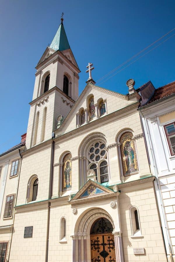 Πρόσοψη του ιστορικού ελληνικού καθολικού κοβάλτιο-καθεδρικού ναού των Αγίων Cyril και Methodius στοκ εικόνες